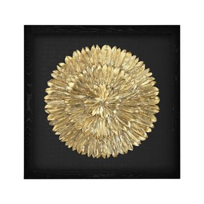 "35 in. x 35 in. ""Gold Feather Spiral"" Wall Art"