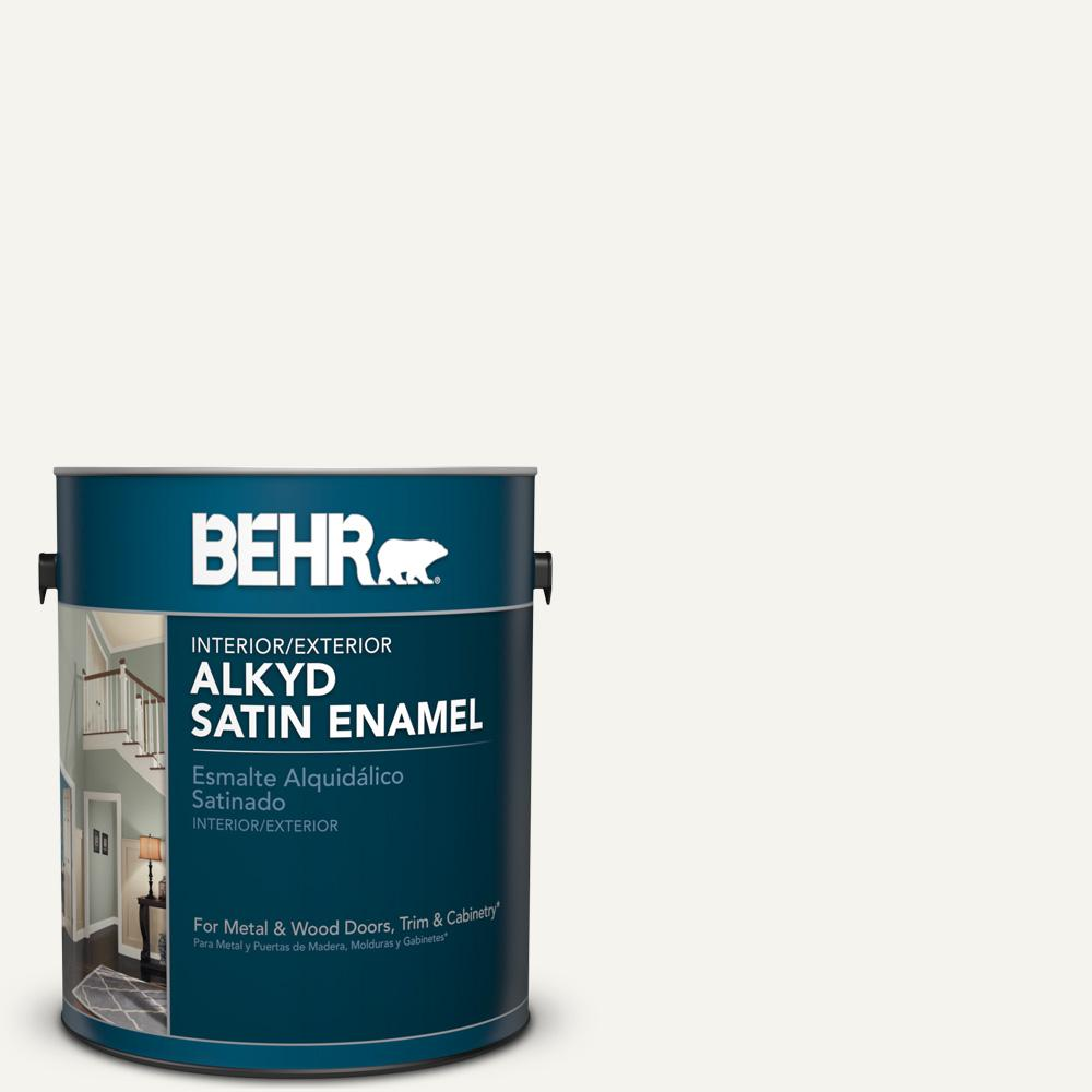Behr 1 Gal 75 Polar Bear Satin Enamel Alkyd Interior Exterior Paint 790001 The Home Depot