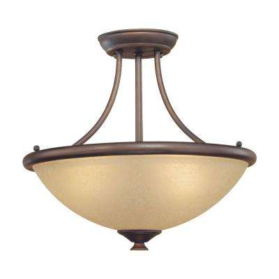 3-Light Rubbed Bronze Semi Flush Mount with Florentine Scavo Glass