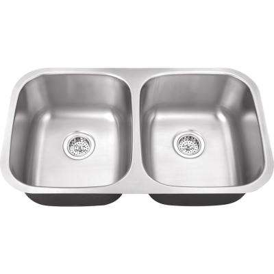 Undermount 32 in. 16-Gauge Stainless Steel Kitchen Sink in Brushed Stainless