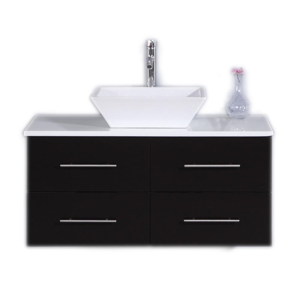 Eviva Totti Wave 36 in. W x 21 in. D x 22 in. H Vanity in Espresso with Glassos Vanity Top in White with White Basin