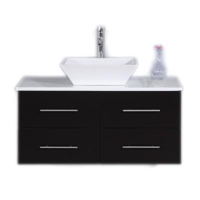 Totti Wave 36 in. W x 21 in. D x 22 in. H Vanity in Espresso with Glassos Vanity Top in White with White Basin