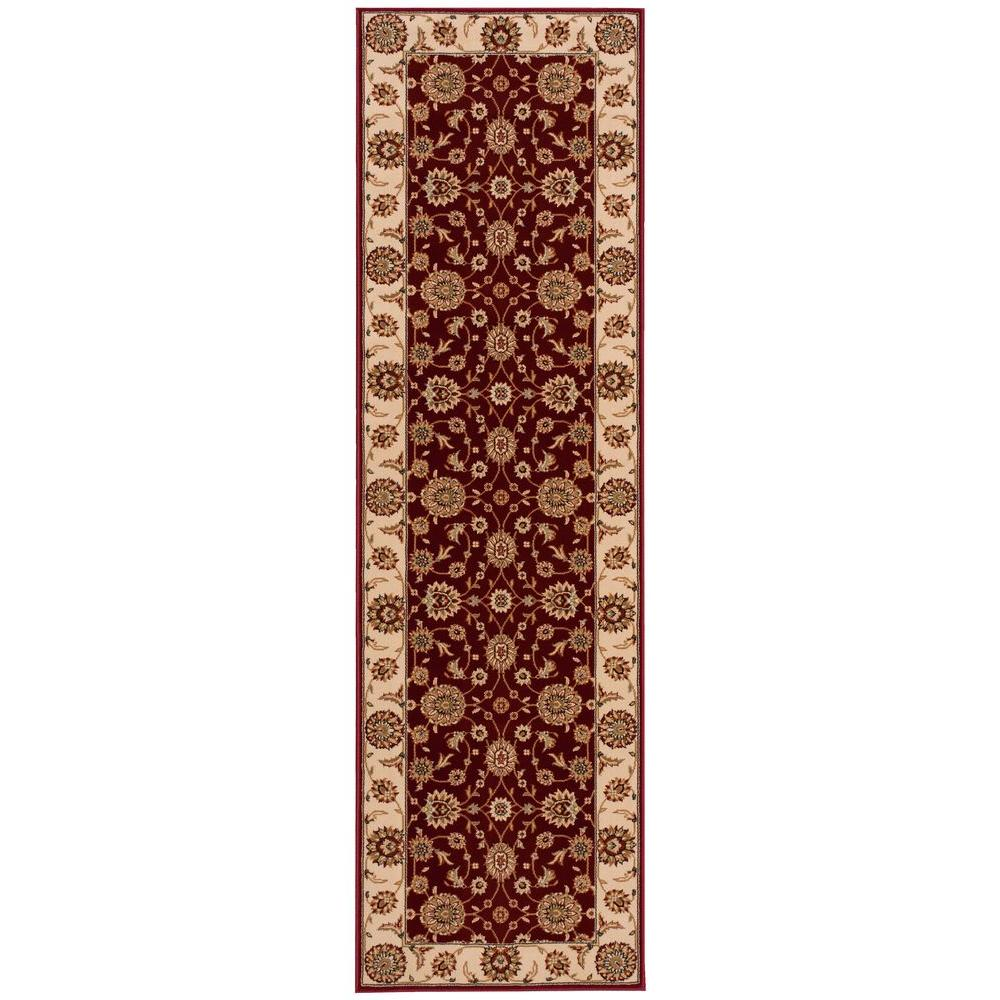 Nourison persian crown suret red 2 ft 2 in x 7 ft 6 in for Custom area rugs home depot