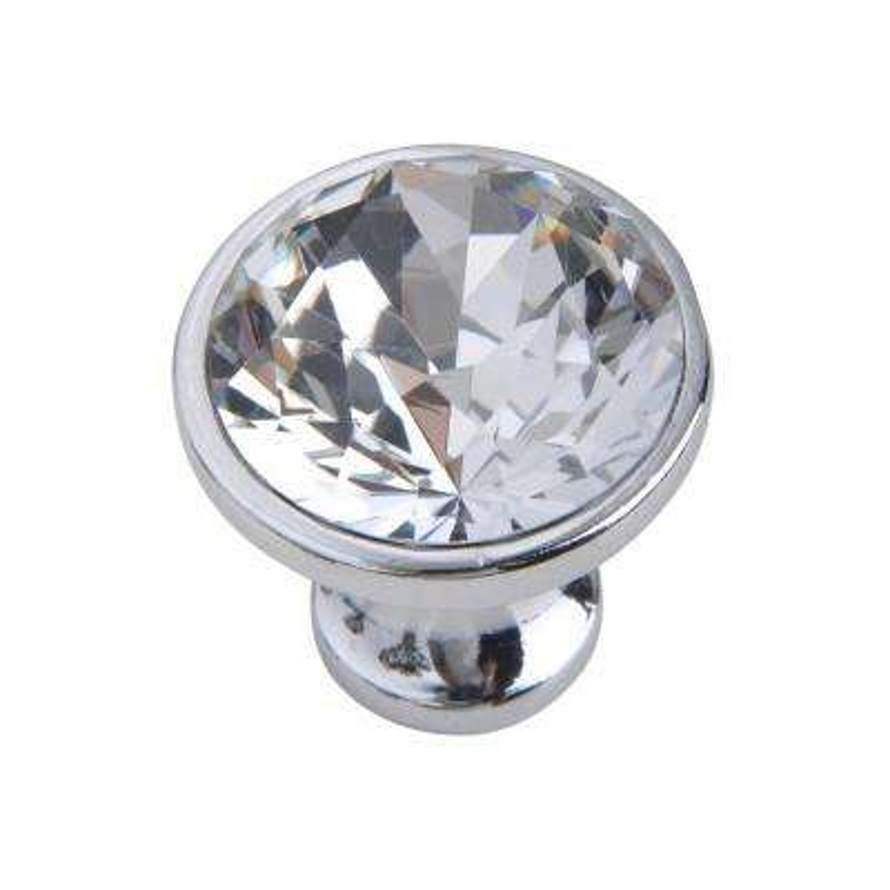 "Utopia Alley Gleam Crystal Cabinet Knob, Polished Chrome, 1.2"" Diameter"