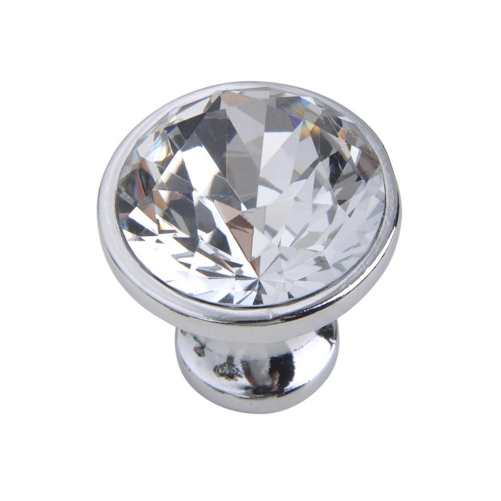 Utopia Alley Gleam Crystal Cabinet Knob, Polished Chrome, 1.2'' Diameter