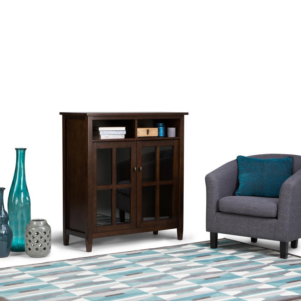 Simpli Home Warm Shaker Tobacco Brown Medium Storage Media Cabinet ...