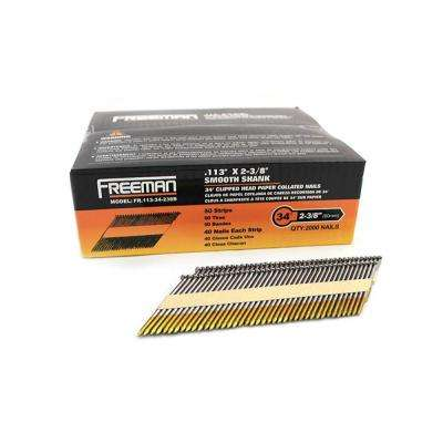 0.113 in. x 2-3/8 in. 30° - 34° Clipped Head Bright Finish Paper Collated Framing Nail