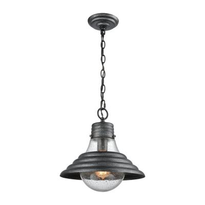 Stratham 1-Light Silvered Graphite with Seedy Glass Pendant