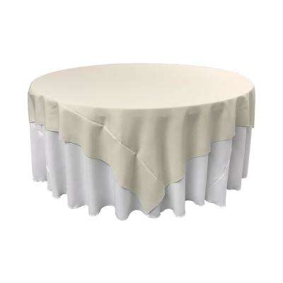 90 in. x 90 in. Ivory Polyester Poplin Square Tablecloth