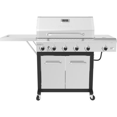Nexgrill 5-Burner Propane Gas Grill in Stainless Steel w/ Side Burner and Foldable Side Shelf
