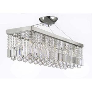 Modern 10-Light Chrome and Crystal Chandelier Pendant by