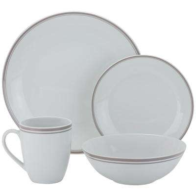16-Piece Gray Coupe Dinnerware Set