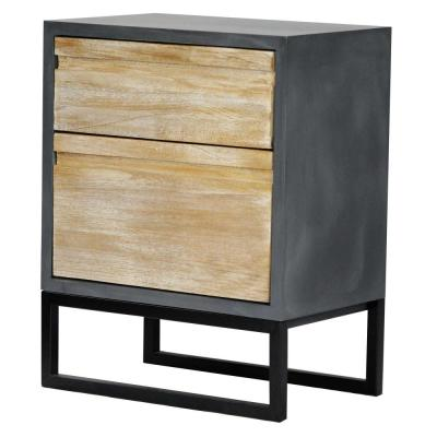 Shelly Assembled 22 in. x 22 in. x 14 in. Distressed Gray Wood Accent Storage Cabinet with 2 Drawers