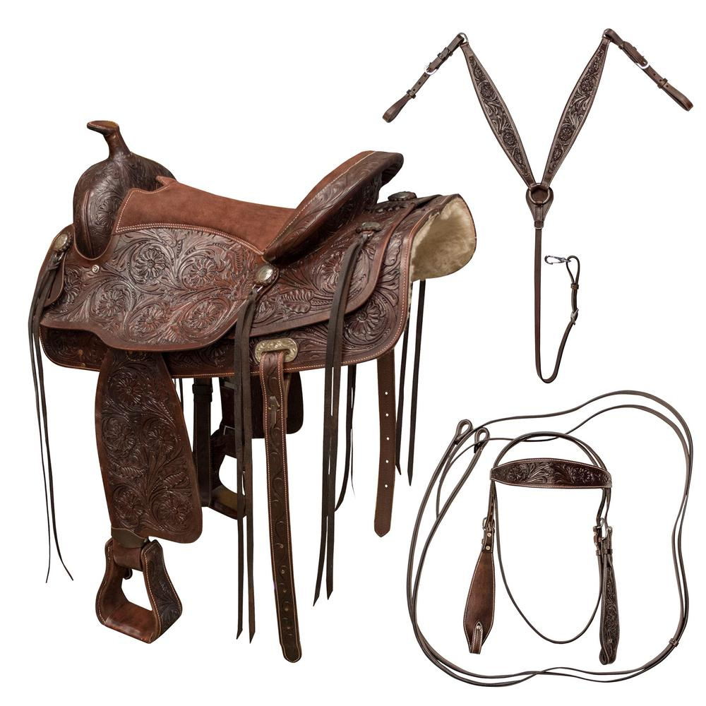 16 in. Tooled Leather Saddle with Headstall, Breach Colla...