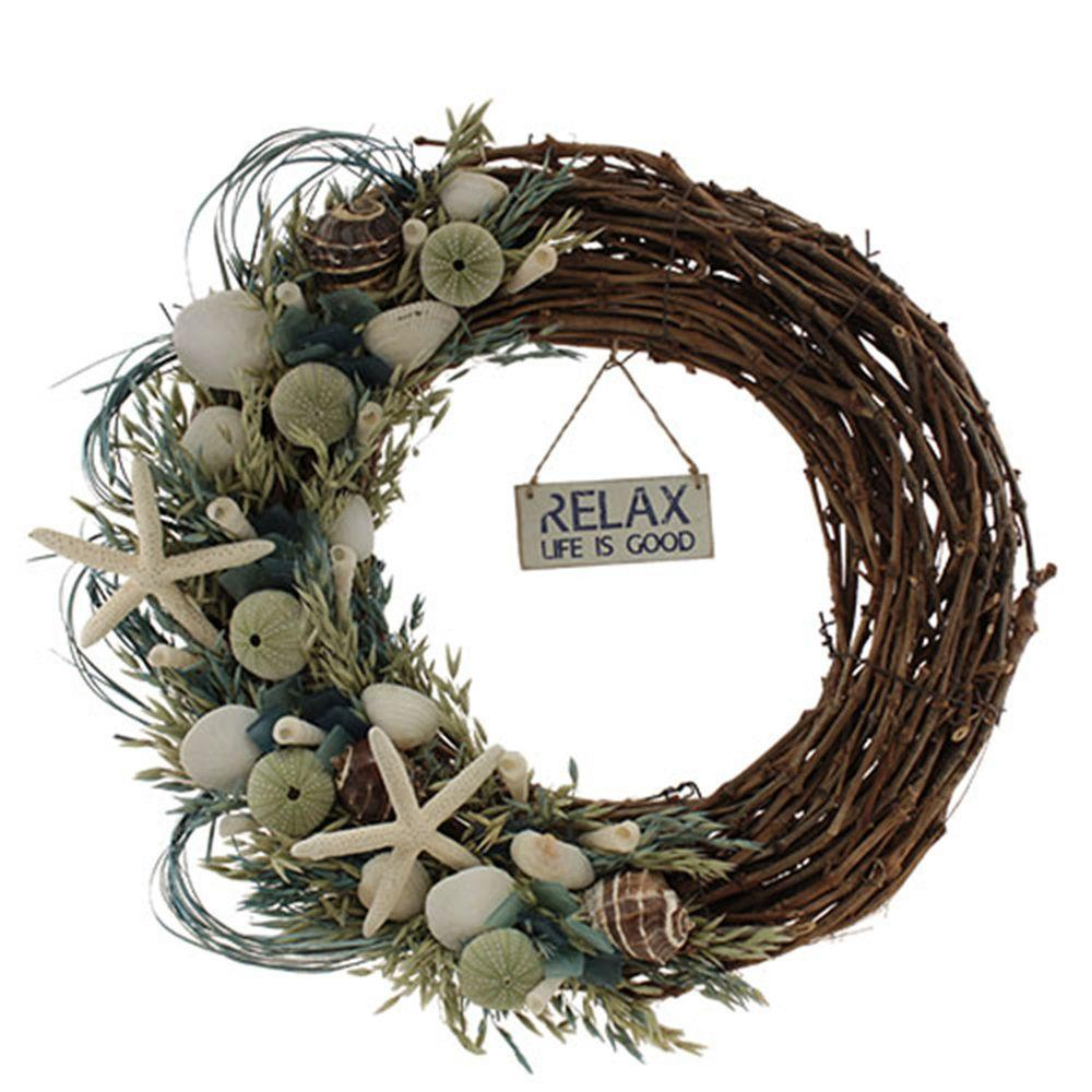 The Christmas Tree Company Crystal Tides Variation 22 in. Seashell and Dried Floral Wreath