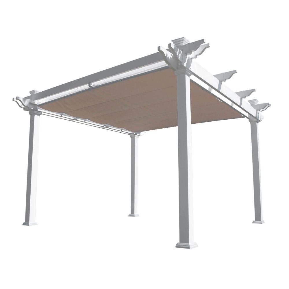 White Double Beam Vinyl Pergola with Shade Canopy - Weatherables Palmetto 12 Ft. X 12 Ft. White Double Beam Vinyl