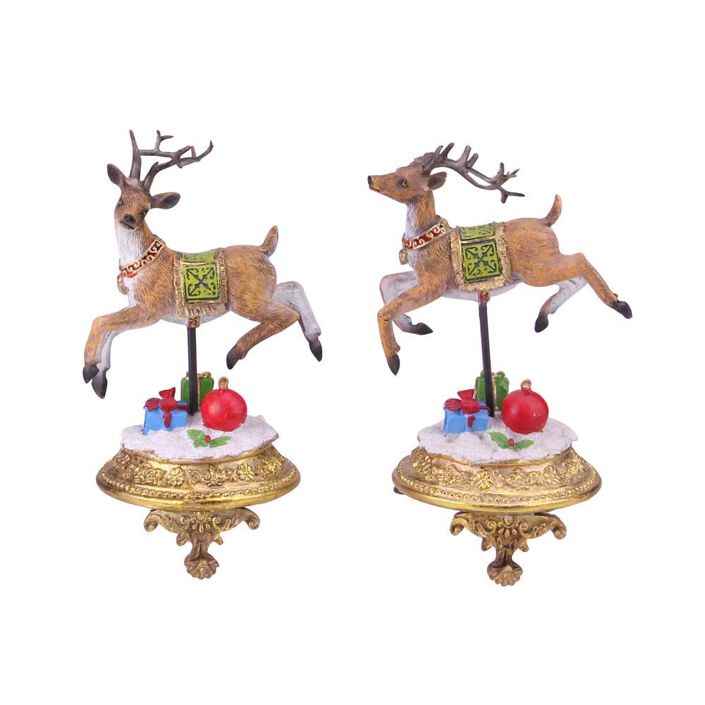 9.25 in. Glittered Reindeer Christmas Stocking Holders (Set of 2)