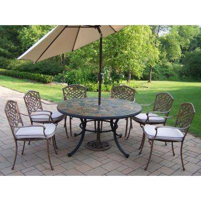 9-Piece Metal Outdoor Patio Dining Set with Tan Cushions and Beige Umbrella