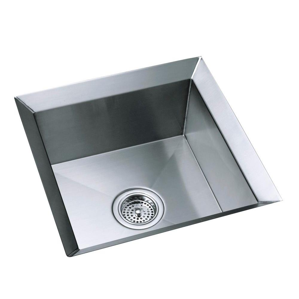 KOHLER Poise Undermount Stainless Steel 18 in. Single Bowl Entertainment Sink