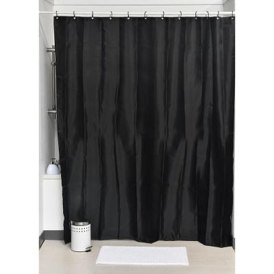 Design S Fabric Polyester Shower Curtain with 12 Matching Rings Black