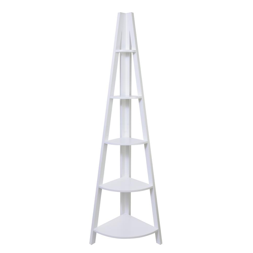 kieragrace Providence Bailey Corner Shelf – White, 71'', Matte Finish