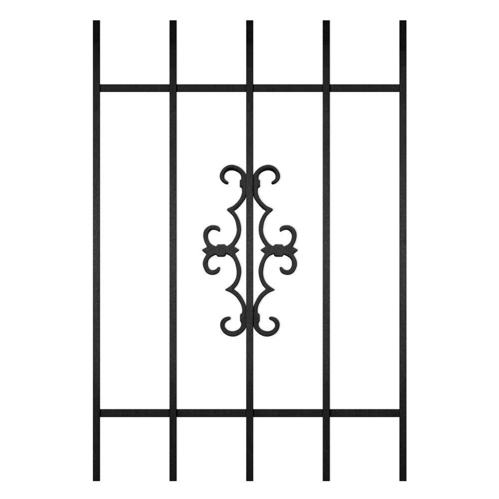 Unique Home Designs Watchman Trio 24 in. x 36 in. Black 5-Bar Window Guard-DISCONTINUED