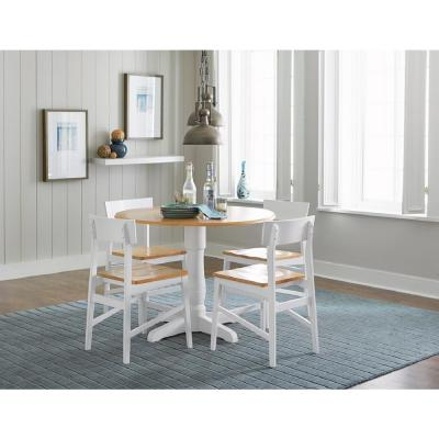 Christy Light Oak/White  Round Dining Table