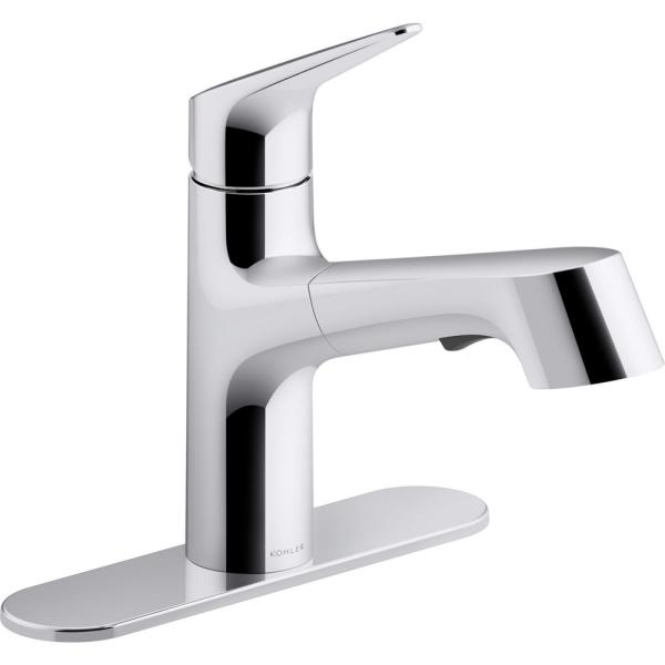 Vin Single-Handle Pull-Out Sprayer Kitchen Faucet in Polished Chrome