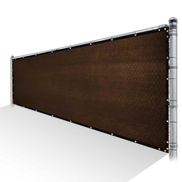 4 ft. x 15 ft. Brown Privacy Fence Screen HDPE Mesh Windscreen with Reinforced Grommets for Garden Fence (Custom Size)