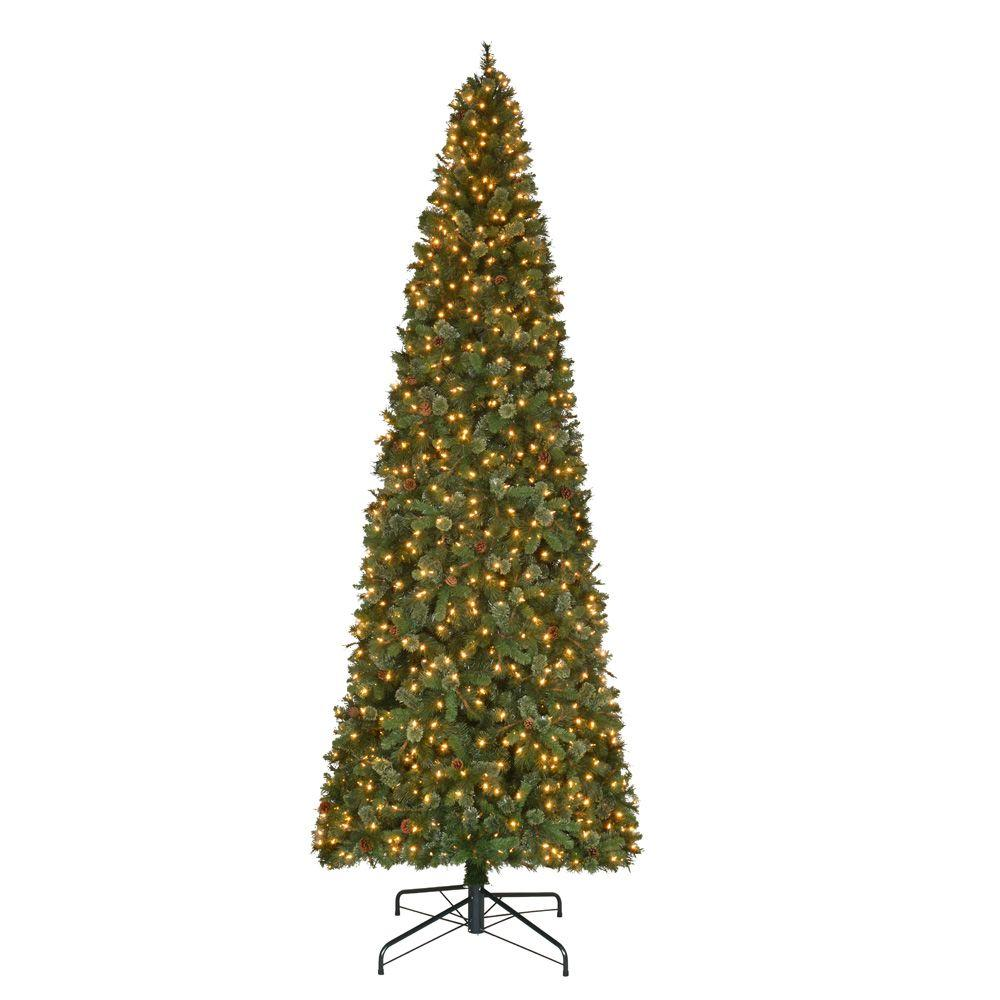 12 ft. Pre-Lit LED Alexander Pine Artificial Christmas Quick Set ...
