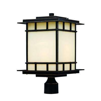 1-Light Rubbed Oil Bronze Outdoor Chateau View Post Lantern