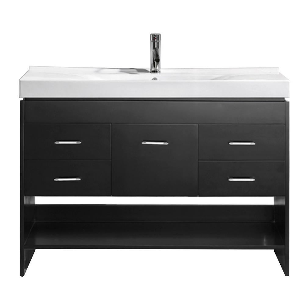 Virtu USA Gloria 48 in. W Bath Vanity in Espresso with Ceramic Vanity Top in White Ceramic with Square Basin and Faucet