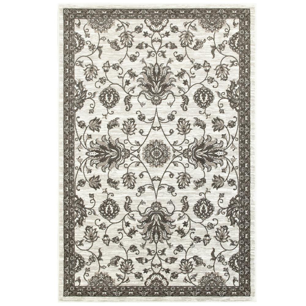 Adana White/Brown 5 ft. x 7 ft. Vibrant Indoor Area Rug
