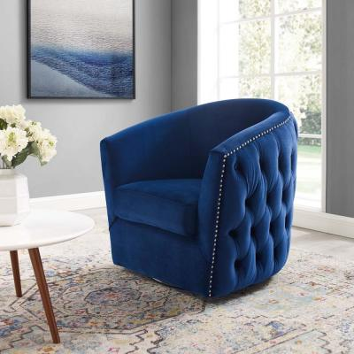 Rogue Navy Swivel Performance Velvet ArmChair