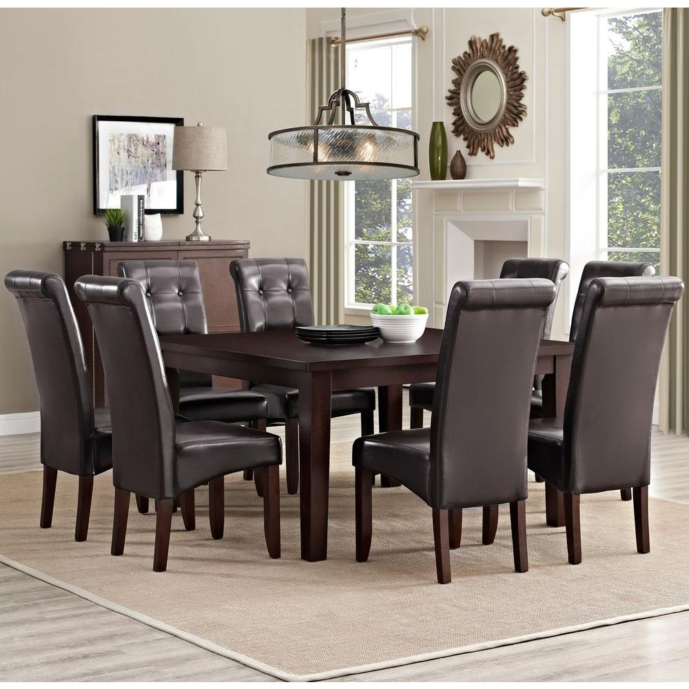 Simpli Home Cosmopolitan 9 Piece Tanners Brown Dining Set