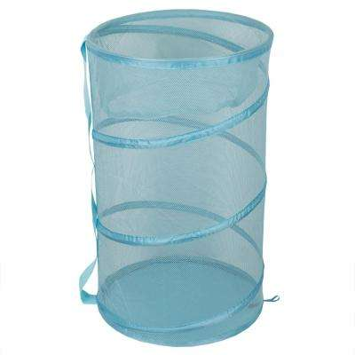 Light Blue Collapsible Mesh Laundry Hamper