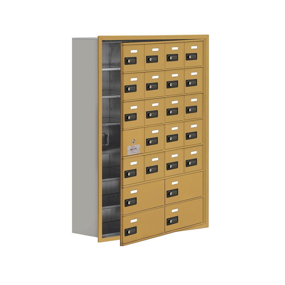 19100 Series 29.25 in. W x 40.75 in. H x 8.75 in. D 23 Doors Cell Phone Locker Recess Mount Resettable Lock in Gold