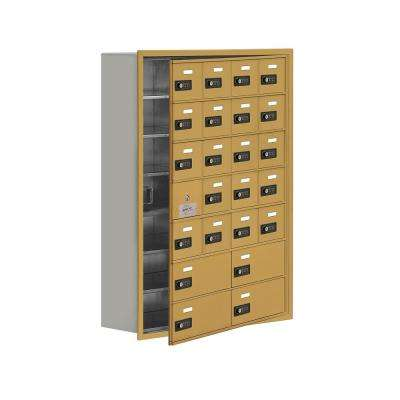 19100 Series 29.25 in. W x 40.75 in. H x 8.75 in. D 23 Doors Cell Phone Locker Recess Mount Resettable Lock in Gold