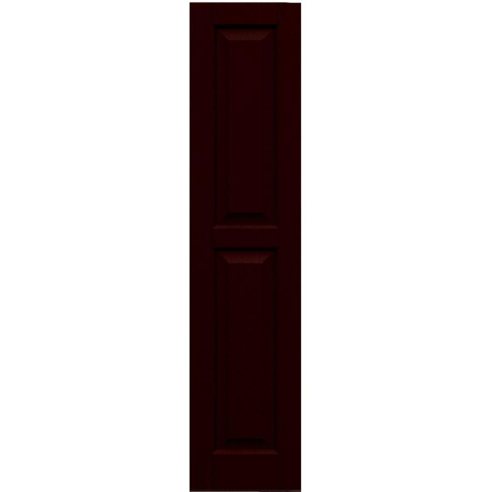 Winworks Wood Composite 12 in. x 53 in. Raised Panel Shutters Pair #657 Polished Mahogany