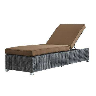 Camari Charcoal Wicker Adjustable Outdoor Chaise Lounge Chair with Brown Cushion