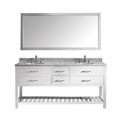 Virtu USA Caroline Estate 72 in. W Bath Vanity in White with Marble Vanity Top in White with Round Basin and Mirror