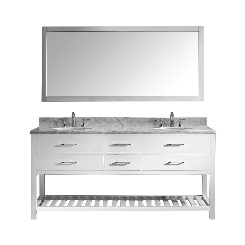 Virtu USA Caroline Estate 72 in. W x 36 in. H Vanity with Marble Vanity Top in Carrara White with White Round Basin and Mirror