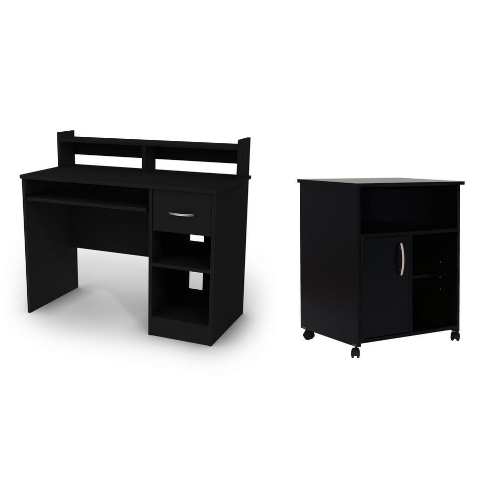 South S As Pure Black Computer Desk