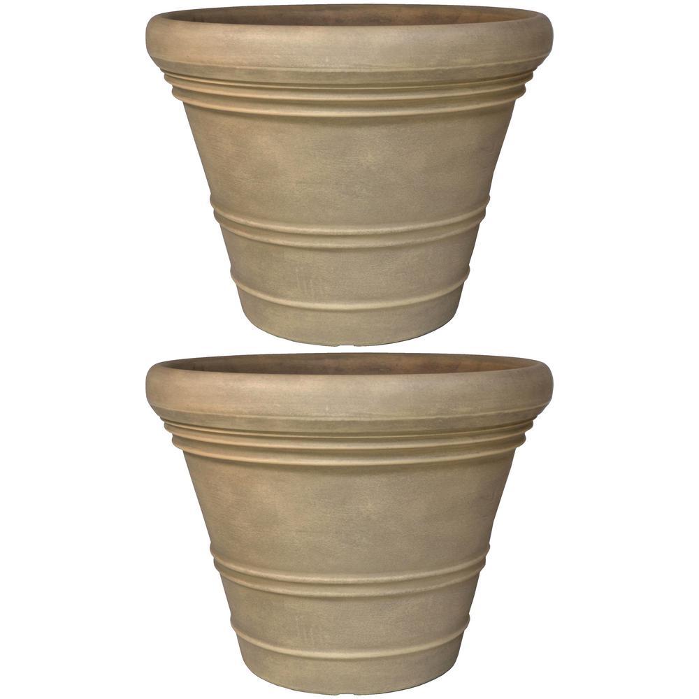 18 in. Beige Prescott Poly Flower Pot Planter (2-Pack)
