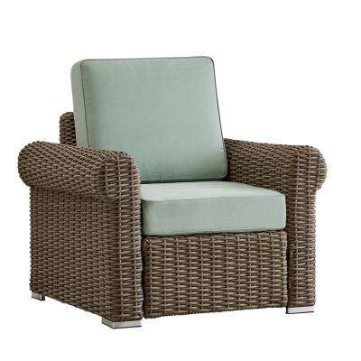 Camari Mocha Rolled Arm Wicker Outdoor Patio Lounge Chair with Blue Cushion
