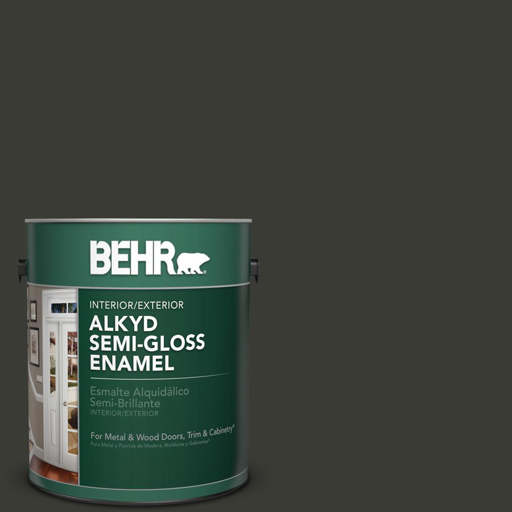 1 gal. #ECC-10-2 Jet Black Semi-Gloss Enamel Alkyd Interior/Exterior Paint