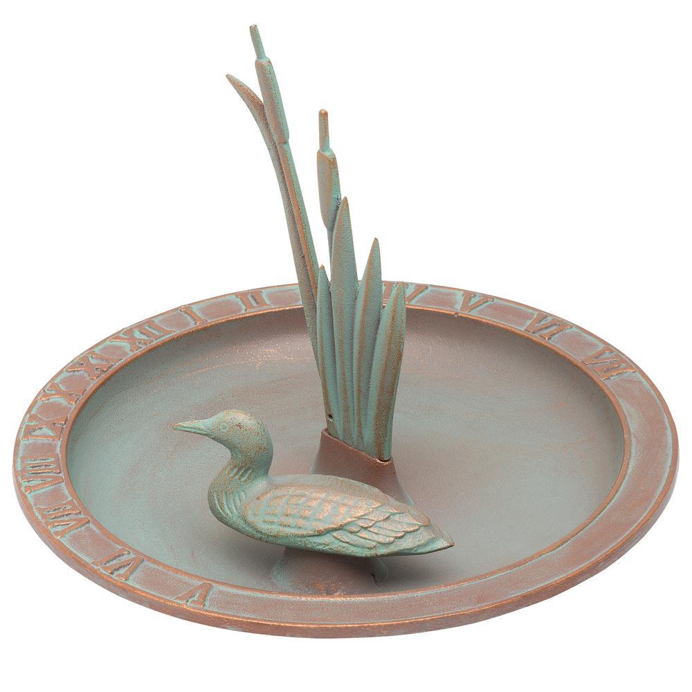 Verdigris Loon Sundial Birdbath