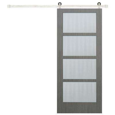 36 in. x 84 in. 4-Lite Driftwood Clear Coat Finish wood Interior Barn Door with Stainless Steel Sliding Door Hardware