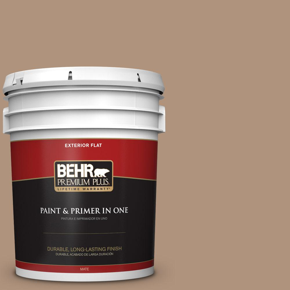 Behr premium plus 5 gal ppu4 04 soft chamois flat exterior paint and primer in one 440005 for Behr exterior paint with primer reviews