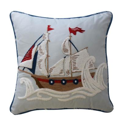 Ride The Waves Aqua Striped Polyester 15 in. x 15 in. Throw Pillow